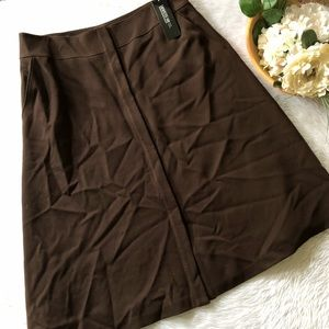 NWT Lafayette 148 Brown Button Front Skirt